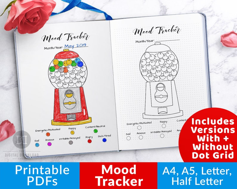 Mood Tracker Printable- Gumball Machine, Bullet Journal Printable, Monthly  Mood Chart, Anxiety Tracker, Depression Trackers, Bujo Insert PDF