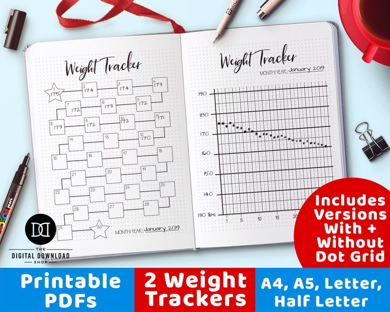picture regarding Bullet Journal Weight Loss Tracker Printable called 2 Bodyweight Tracker Printables, Bullet Magazine Fat Decline Tracker Printable, Excess weight Reduction Planner, Physique Breakthroughs Tracker, Health Planner PDFs