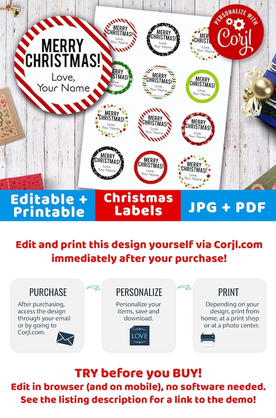 picture relating to Christmas Labels Printable titled Xmas Labels Editable- Spherical, Printable Xmas Tags, Custom made Xmas Labels, 2 Inch Circle Labels Editable Prompt Obtain