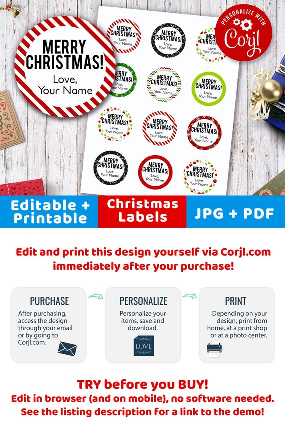 photograph regarding Christmas Labels Printable titled Xmas Labels Editable- Spherical, Printable Xmas Tags, Custom made Xmas Labels, 2 Inch Circle Labels Editable Instantaneous Obtain