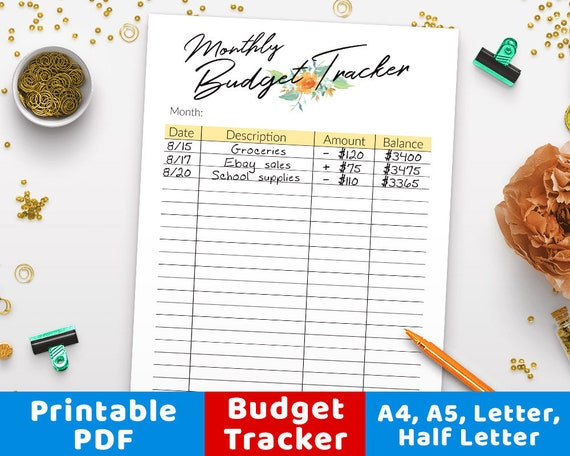 monthly budget tracker printable watercolor budget planner etsy