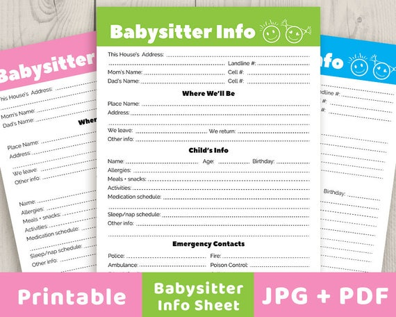 babysitter notes printable babysitter info sheet babysitter etsy