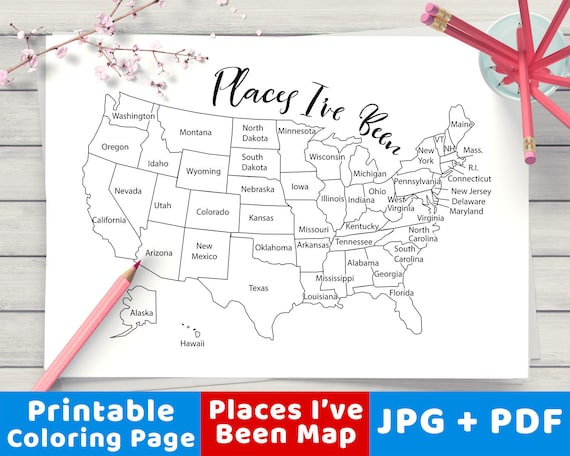 Places I Ve Been Map Coloring Page Printable Usa Map Etsy