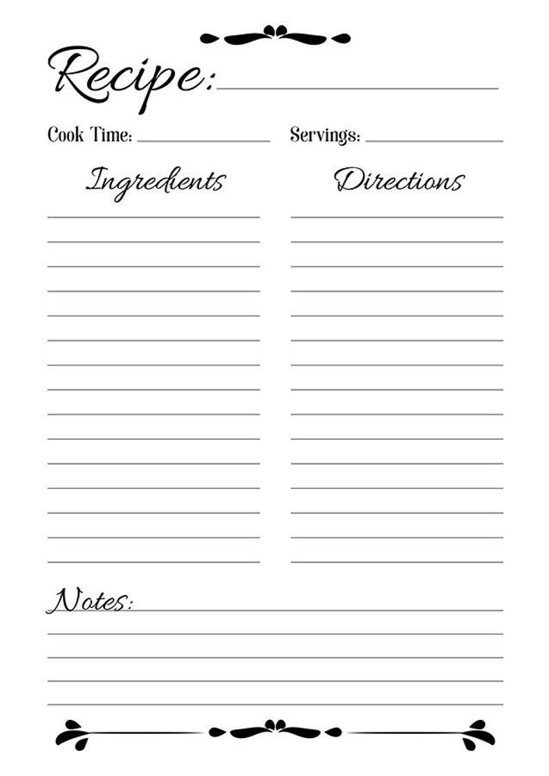 photograph regarding Printable Recipe Pages identified as Recipe Sheet Printable, Recipe Web page Template, Blank Recipe Web page, Recipe E book, Printable Recipe Template, Recipe Inserts, A4, Letter, A5, PDF