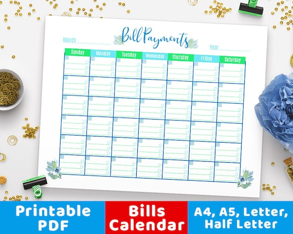 photo relating to Bill Pay Calendar Printable titled Monthly bill Charges Calendar Floral, Payments Tracker, Invoice Calendar, Invoice Tracker Regular monthly Planner, Particular person Finance, Budgeting, Monetary Control PDF