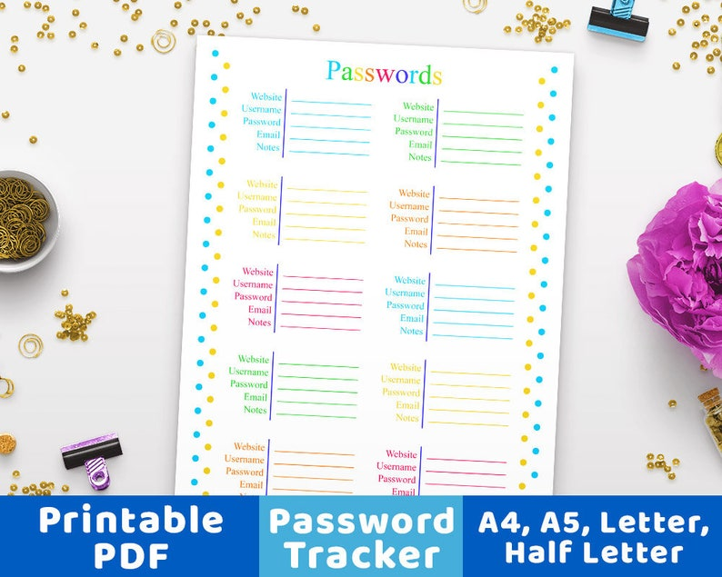 photo about Password Tracker Printable called Pword Tracker Printable, Pword Keeper, Pword Log, Pword Organizer, A4 Pword Supervisor, A5 Pword E book Printable PDF