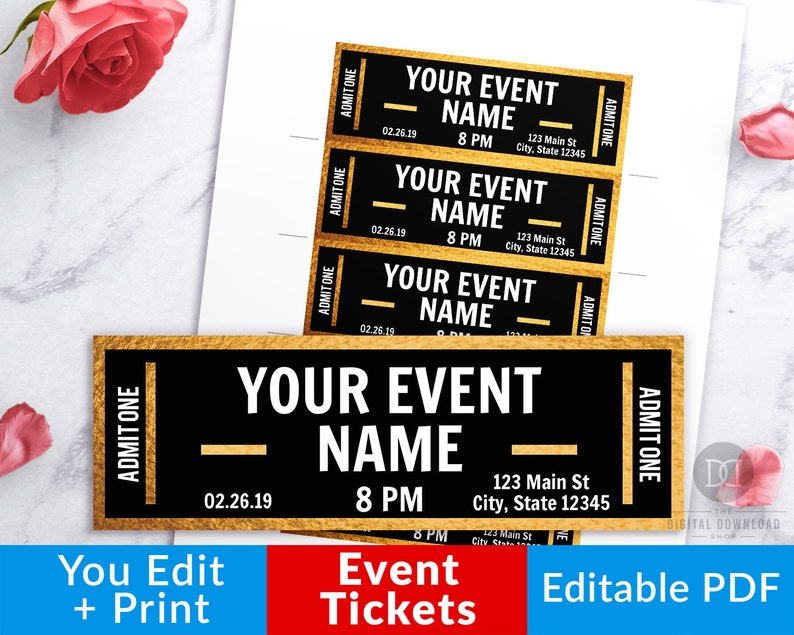 picture relating to Printable Event Tickets titled Gold Function Ticket Printables, Editable Party Tickets, Party Ticket Template Printable, Do-it-yourself Occasion Ticket, Untrue Live performance Ticket Obtain