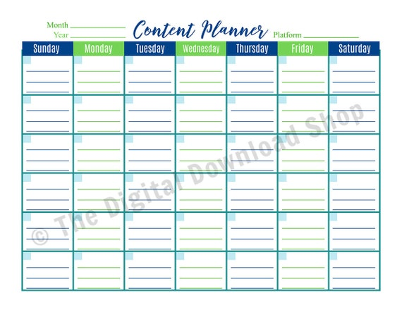 Content Calendar Printable Blog Planner Social Media Planner Blog Post Planner Podcast Planner Editorial Calendar Printable Pdf Download