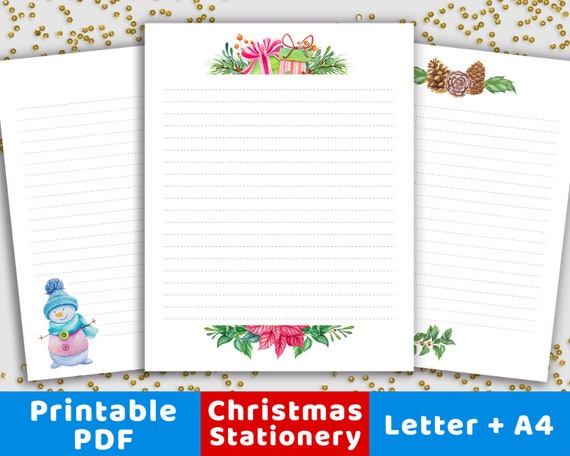 graphic relating to Printable Christmas Letters titled 3 Xmas Stationery Printables, Xmas Stationary Paper Electronic, Xmas Letter Mind Printable, Letter in the direction of Santa Letter Printable
