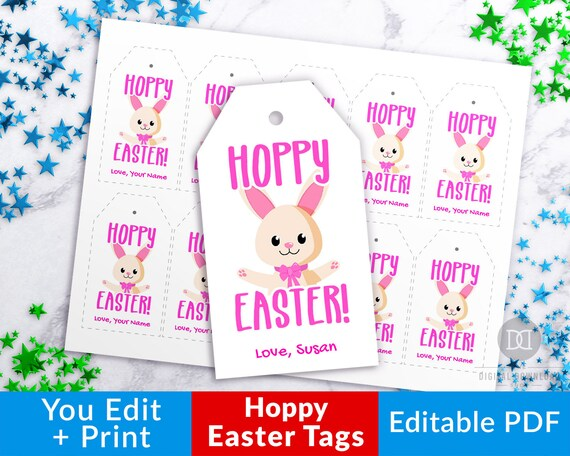 image about Printable Easter Tags identify Hoppy Easter Tags Printable, Easter Tags Editable, Easter Bunny Tag, Easter Reward Tag, Easter Choose Tag, Custom-made Easter Social gathering Tags