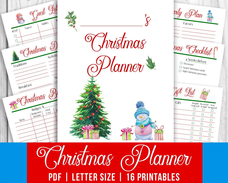 Christmas Planner Printable Printable Christmas Planner Kit | Etsy