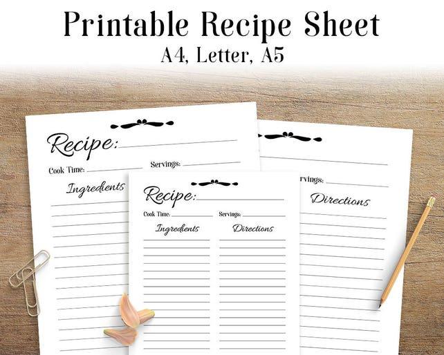 Recipe Sheet Printable Recipe Page Template Blank Recipe | Etsy