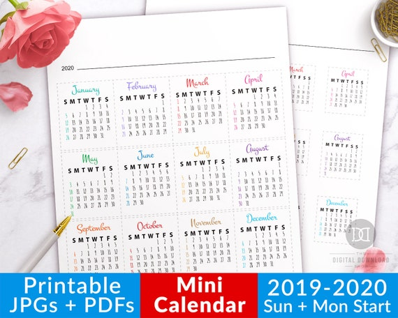 Calendrier Can Gabon 2019 Pdf.2019 2020 Bullet Journal Mini Calendars For Future Log Bullet Journal Month Bujo Dates Journal Calendar Printable Planner Stickers