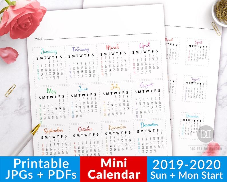 Mini Calendario 2020 Para Imprimir Chile.2019 2020 Bullet Journal Mini Calendars For Future Log Bullet Journal Month Bujo Dates Journal Calendar Printable Planner Stickers
