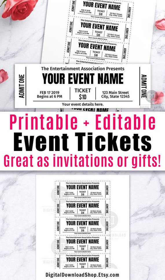 photo regarding Tickets Printable named Celebration Ticket Printables, Editable Occasion Tickets, Party Ticket Template Printable, Do it yourself Occasion Ticket, False Editable P, Quick Obtain