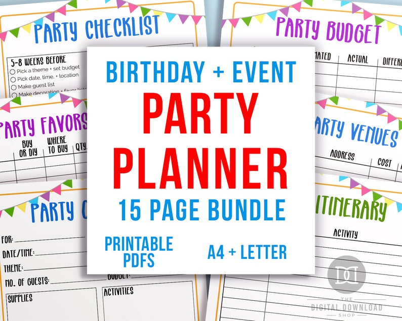 photo regarding Party Plan Template named Occasion Planner Printable Package deal, Bash Designing Template, Social gathering Itinerary, Occasion Visitor Listing, Occasion Spending budget, Get together Menu, Social gathering List PDF