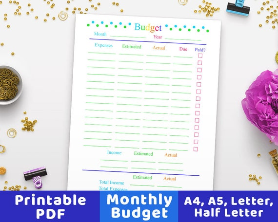 monthly budget planner printable budget worksheet family etsy