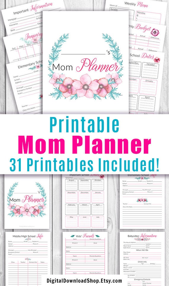 image regarding Mom Planner Printable known as Mother Planner Printable, Printable Mother Binder, Property Control Binder Printable, Printable Household Planner, Remain at Residence Mother, Letter Dimension PDF