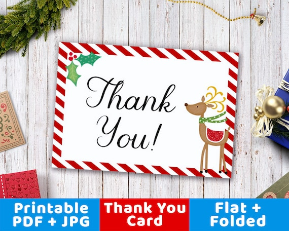 Christmas Thank You Card Printable Printable Reindeer Thank Etsy