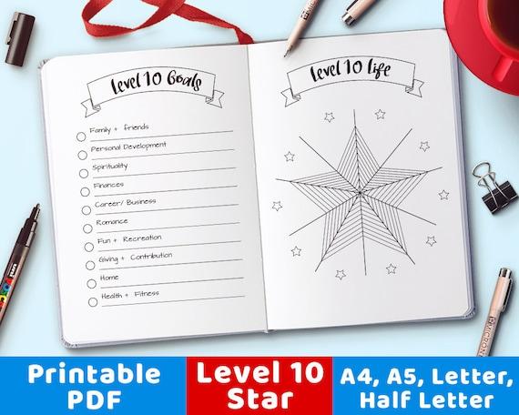bullet journal level 10 life printable star printable level etsy