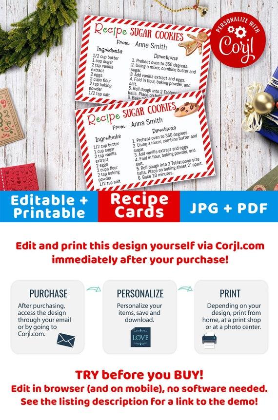 christmas cookie recipe card printable editable christmas etsy
