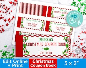 Christmas Coupon Book Editable, Printable Reward Coupons for Kids, Custom Coupon Book Template, Editable Love Coupons For Him For Her