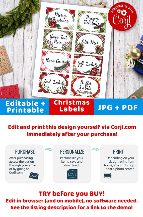 christmas labels editable plaid printable christmas tags etsy