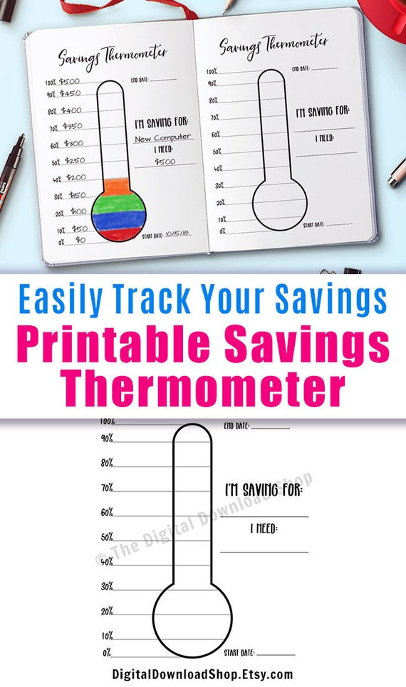 graphic about Savings Printable called Discounts Thermometer Printable, Bullet Magazine Personal savings Intent Thermometer Tracker, Crisis Fund Cost savings Chart, Trip Personal savings, Bujo Incorporate