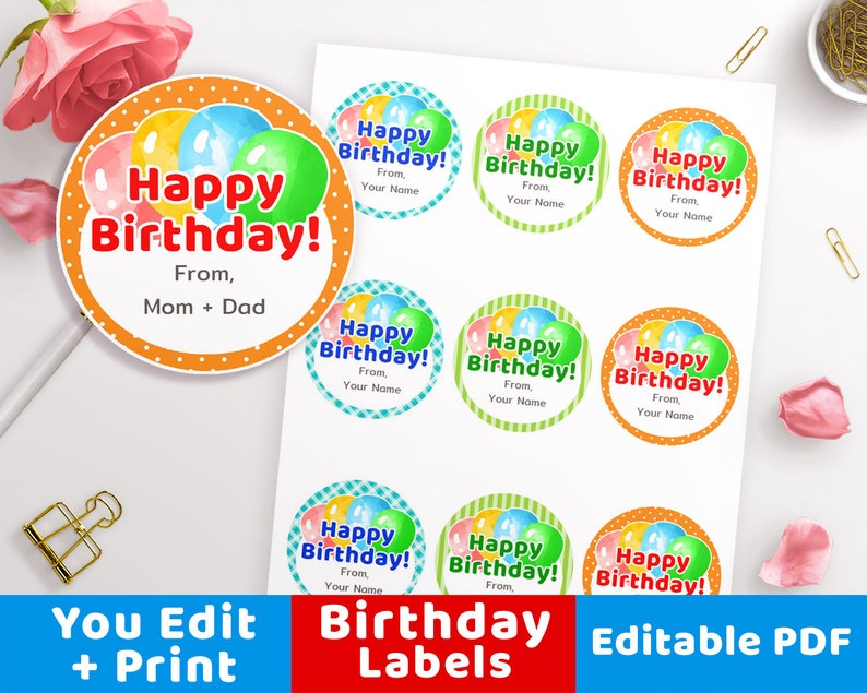 photograph relating to Happy Birthday Tag Printable named Delighted Birthday Labels Printable, Birthday Labels, Customized Birthday Labels, Custom made Birthday Tags Balloons, Reward Stickers, Editable PDF