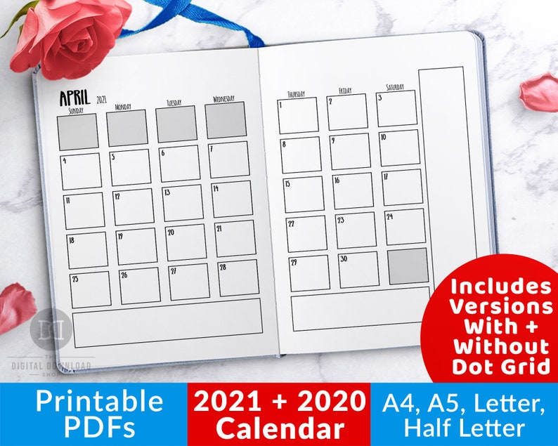 2021 Bullet Journal Calendar Printable 2021 Calendar   Etsy