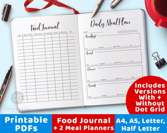 picture relating to Printables Food titled Foodstuff Magazine Printable + 2 Evening meal Planner Printables, Bullet Magazine Food items Diary Printable, Calorie Tracker, Weekly Menu System, Physical fitness Magazine