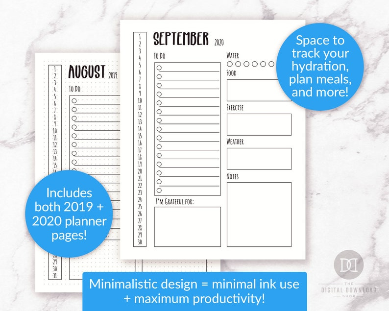 2019/2020 Bullet Journal Daily Template Printable, 2020 Daily Log  Printable, Bujo 2019 Daily Planner, Minimalist Planner Day at a Glance PDF