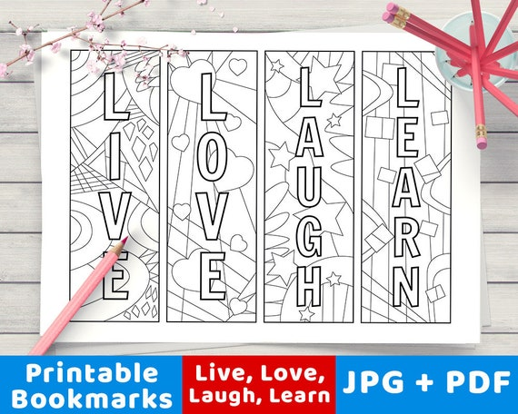 Live Love Bookmarks To Color Printable Coloring Page