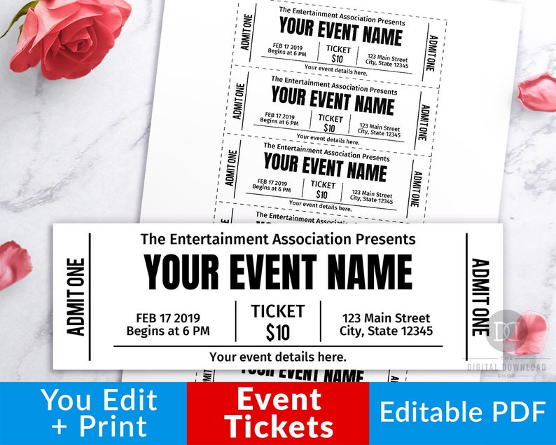 image relating to Printable Event Tickets named Occasion Ticket Printables, Editable Celebration Tickets, Occasion Ticket Template Printable, Do-it-yourself Occasion Ticket, Bogus Editable P, Immediate Obtain