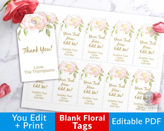graphic about Blank Gift Tags Printable named Blank Reward Tags Printable- Floral, Editable Printable Tag, Printable Desire Tags, Thank Your self Tags, Wedding ceremony Like Tags, Kid Shower Tags PDF