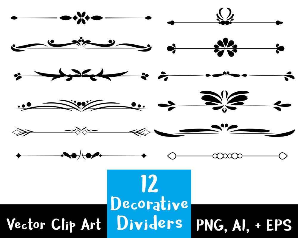 flourish divider 12 decorative dividers flourish clipart text divider etsy 9234