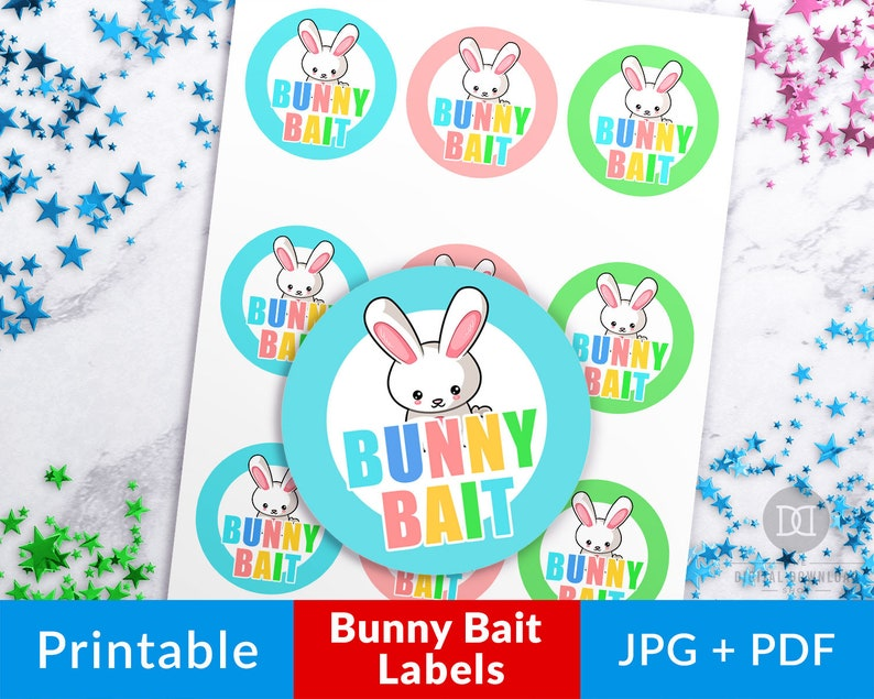graphic relating to Bunny Bait Printable known as Easter Bunny Bait Stickers Printable, Bunny Bait Tag, Easter Labels Printable, Printable Social gathering Desire Stickers, Easter Choose Labels 2.5\