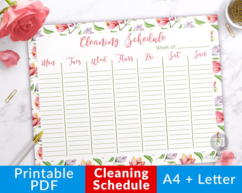 photograph regarding Printable Cleaning Schedule Template named Weekly Cleansing Routine Printable- Floral, Cleansing Planner Printable, Cleansing Agenda Template, Cleansing Listing Printable Chores Checklist