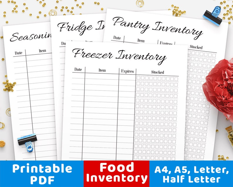 photograph relating to Freezer Inventory Printable named Food stuff Stock Printables,Pantry Stock, Freezer Stock, Refrigerator Stock, Stock Tracker, Stock Printable Increase, Foodstuff Tracker