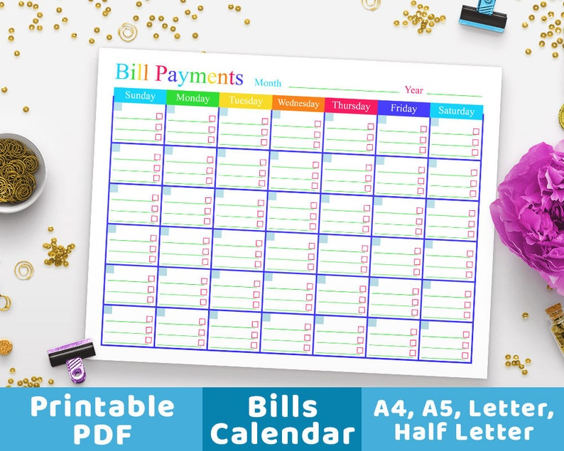 photo about Bill Payment Calendar Printable referred to as Invoice Bills Calendar, Expenses Tracker, Invoice Calendar, Costs Tracker Regular Planner, Particular person Finance, Budgeting, Cash Control PDF
