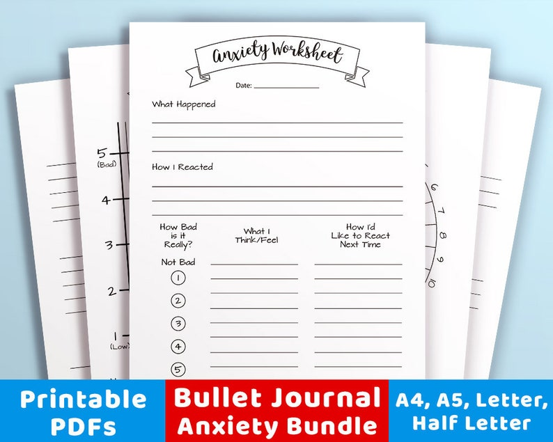 graphic regarding Printable Bullet Journal identified as Bullet Magazine Nervousness Printables Offer, Anxiousness Tracker, Temper Trackers, Psychological Physical fitness Planner, Strain Magazine, Bujo Printable Inserts