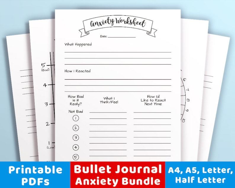 photograph about Printable Bullet Journal identify Bullet Magazine Tension Printables Package deal, Worry Tracker, Temper Trackers, Psychological Health and fitness Planner, Strain Magazine, Bujo Printable Inserts