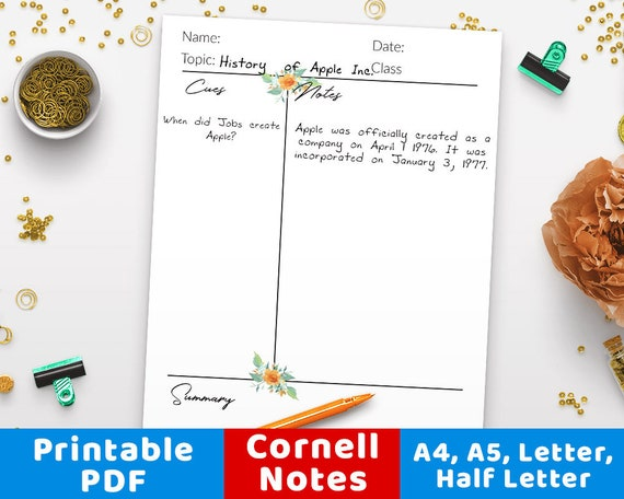 Cornell Notes Template Printable Printable Cornell Notes Planner Inserts Student Note Taking Paper Printable Student Notebook Insert Pdf