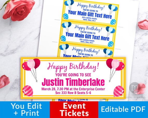 graphic relating to Printable Birthday Coupons identified as Birthday Function Tickets Template Printable, Editable Occasion Tickets, Birthday Coupon Printable, Birthday Ticket Template, Editable Coupon PDF