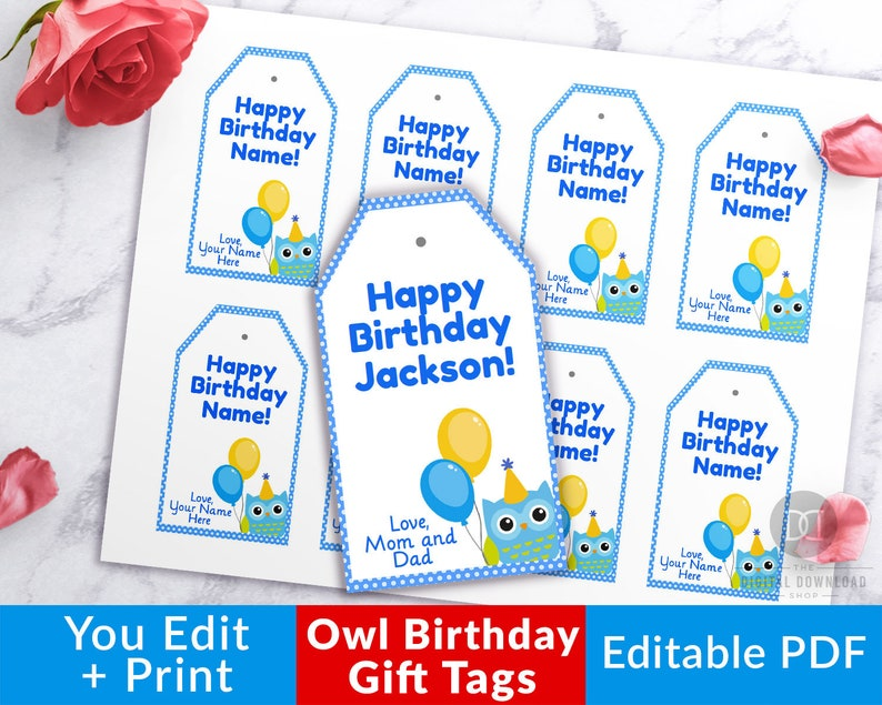 picture relating to Printable Birthday Gift Tags identified as Birthday Present Tags Printable- Blue Owl, Editable Birthday Tags Printable, Boy Birthday Tags, Owl Birthday Celebration, Content Birthday Tags PDF