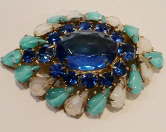 Mid Century Prong Set Blue Glass And Opaque Rhinestone Brooch