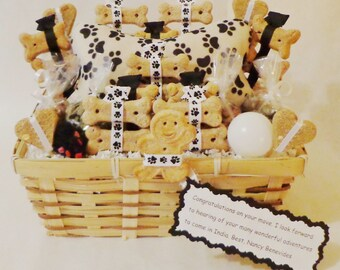 Dog and cat treat gift basket, dog biscuits, dog treats, cat treats, cat toys, dog gift basket, cat gift basket, personalized pet gift,