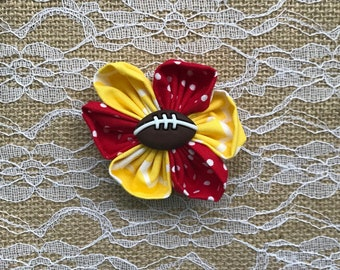 Yellow and Red Fabric Flower Hair Clip