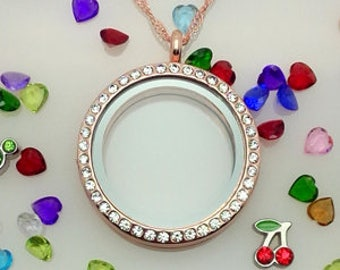 Round Rose Gold floating memory locket with birthstones and lanyard