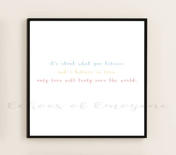 Wonder Woman Quote Only Love Will Truly Save The World Etsy
